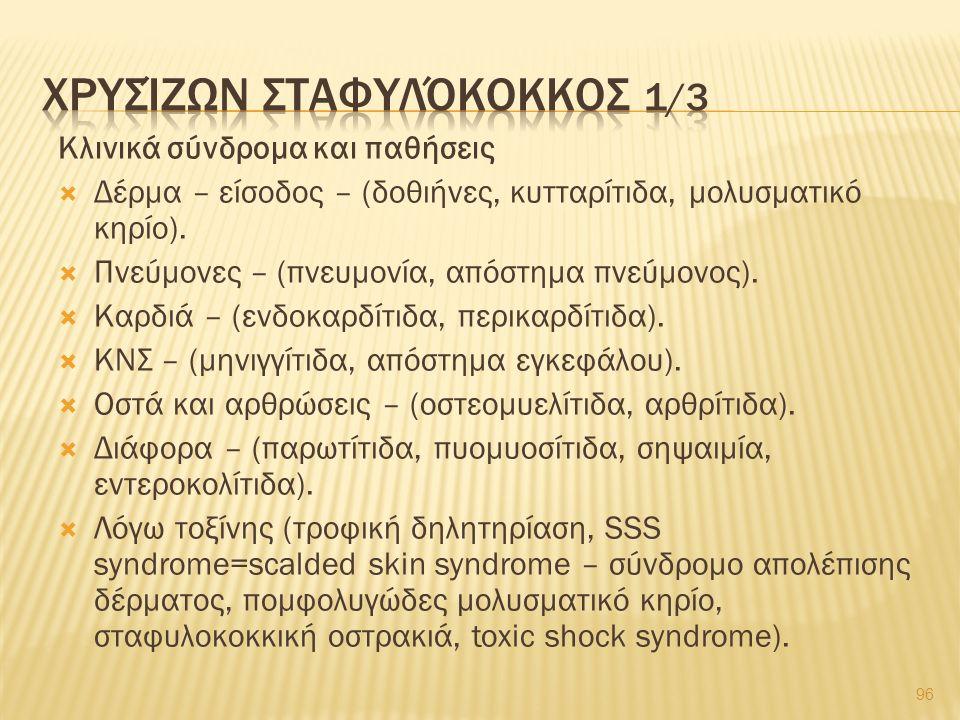 Κλινικά σύνδρομα και παθήσεις  Δέρμα – είσοδος – (δοθιήνες, κυτταρίτιδα, μολυσματικό κηρίο).