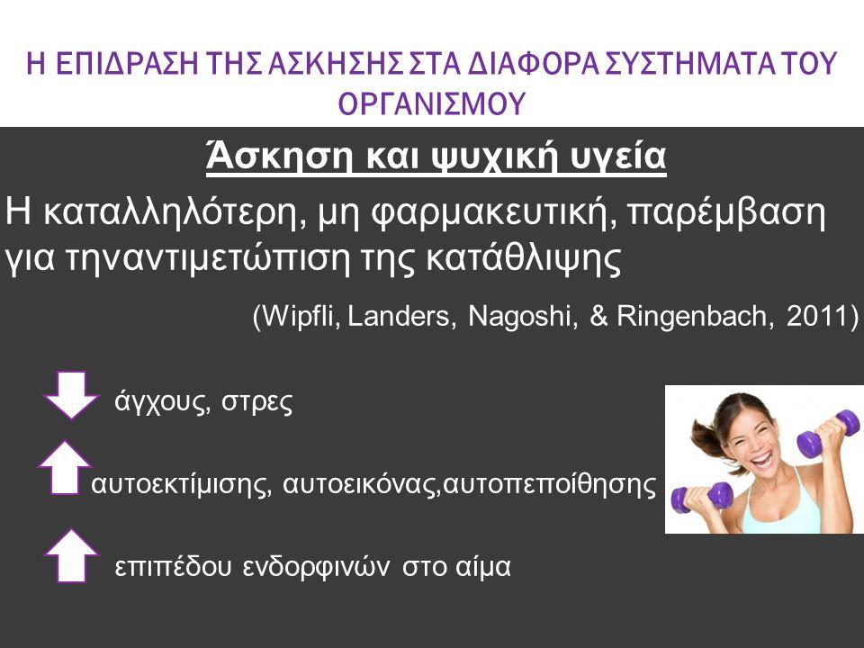 Η ΕΠΙΔΡΑΣΗ ΤΗΣ ΑΣΚΗΣΗΣ ΣΤΑ ΔΙΑΦΟΡΑ ΣΥΣΤΗΜΑΤΑ ΤΟΥ ΟΡΓΑΝΙΣΜΟΥ Άσκηση και ψυχική υγεία Η καταλληλότερη, μη φαρμακευτική, παρέμβαση για τηναντιμετώπιση τη
