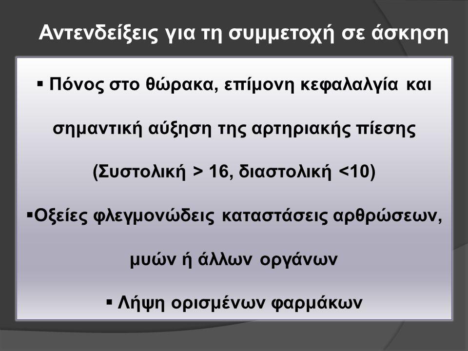 Αντενδείξεις για τη συμμετοχή σε άσκηση  Πόνος στο θώρακα, επίμονη κεφαλαλγία και σημαντική αύξηση της αρτηριακής πίεσης (Συστολική > 16, διαστολική