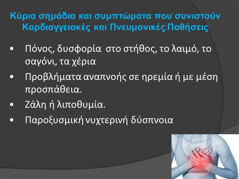 Κύρια σημάδια και συμπτώματα που συνιστούν Καρδιαγγειακές και Πνευμονικές Παθήσεις Πόνος, δυσφορία στο στήθος, το λαιμό, το σαγόνι, τα χέρια Προβλήματα αναπνοής σε ηρεμία ή με μέση προσπάθεια.