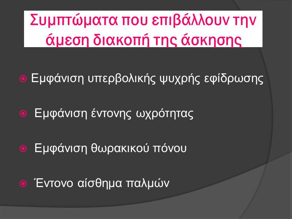 Συμπτώματα που επιβάλλουν την άμεση διακοπή της άσκησης  Εμφάνιση υπερβολικής ψυχρής εφίδρωσης  Εμφάνιση έντονης ωχρότητας  Εμφάνιση θωρακικού πόνου  Έντονο αίσθημα παλμών