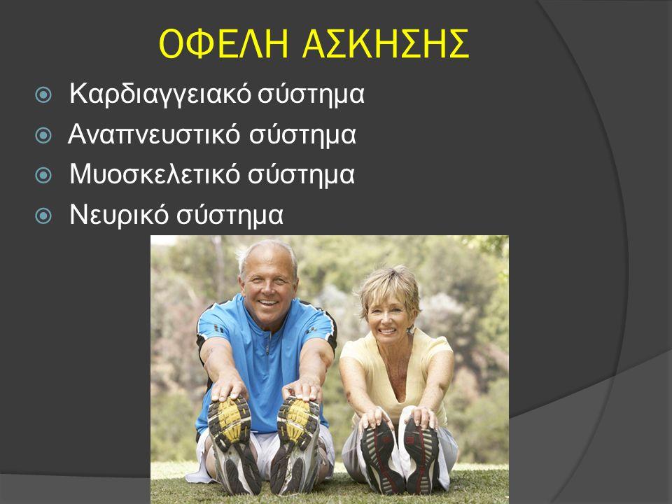 ΟΦΕΛΗ ΑΣΚΗΣΗΣ  Καρδιαγγειακό σύστημα  Αναπνευστικό σύστημα  Μυοσκελετικό σύστημα  Νευρικό σύστημα