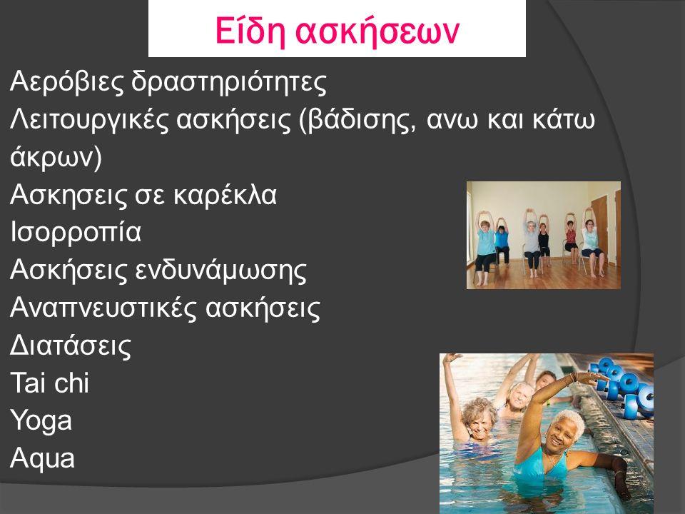 Είδη ασκήσεων Αερόβιες δραστηριότητες Λειτουργικές ασκήσεις (βάδισης, ανω και κάτω άκρων) Ασκησεις σε καρέκλα Ισορροπία Ασκήσεις ενδυνάμωσης Αναπνευστικές ασκήσεις Διατάσεις Tai chi Yoga Aqua
