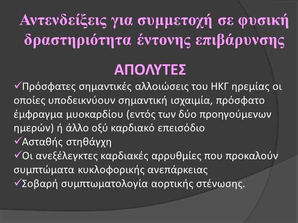 Αντενδείξεις για συμμετοχή σε φυσική δραστηριότητα έντονης επιβάρυνσης ΑΠΟΛΥΤΕΣ Πρόσφατες σημαντικές αλλοιώσεις του ΗΚΓ ηρεμίας οι οποίες υποδεικνύουν σημαντική ισχαιμία, πρόσφατο έμφραγμα μυοκαρδίου (εντός των δύο προηγούμενων ημερών) ή άλλο οξύ καρδιακό επεισόδιο Ασταθής στηθάγχη Οι ανεξέλεγκτες καρδιακές αρρυθμίες που προκαλούν συμπτώματα κυκλοφορικής ανεπάρκειας Σοβαρή συμπτωματολογία αορτικής στένωσης.