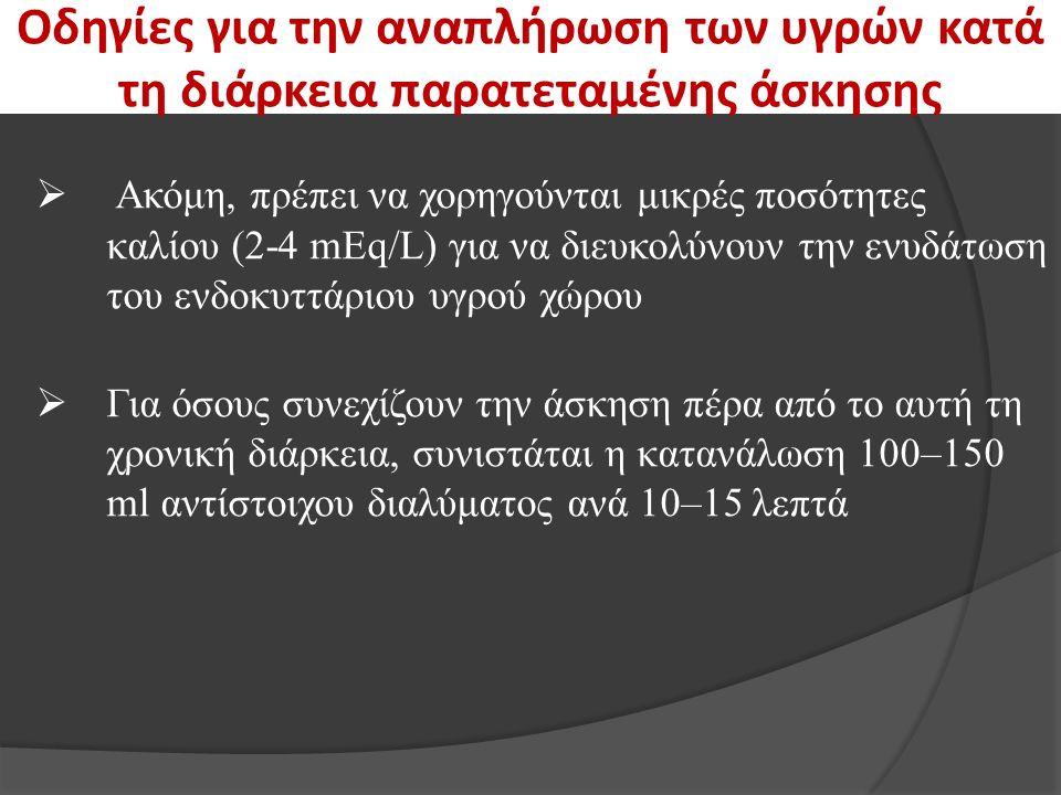 Οδηγίες για την αναπλήρωση των υγρών κατά τη διάρκεια παρατεταμένης άσκησης  Ακόμη, πρέπει να χορηγούνται μικρές ποσότητες καλίου (2-4 mEq/L) για να