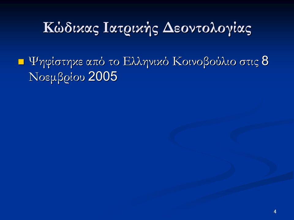 4 Κώδικας Ιατρικής Δεοντολογίας Ψηφίστηκε από το Ελληνικό Κοινοβούλιο στις 8 Νοεμβρίου 2005 Ψηφίστηκε από το Ελληνικό Κοινοβούλιο στις 8 Νοεμβρίου 200