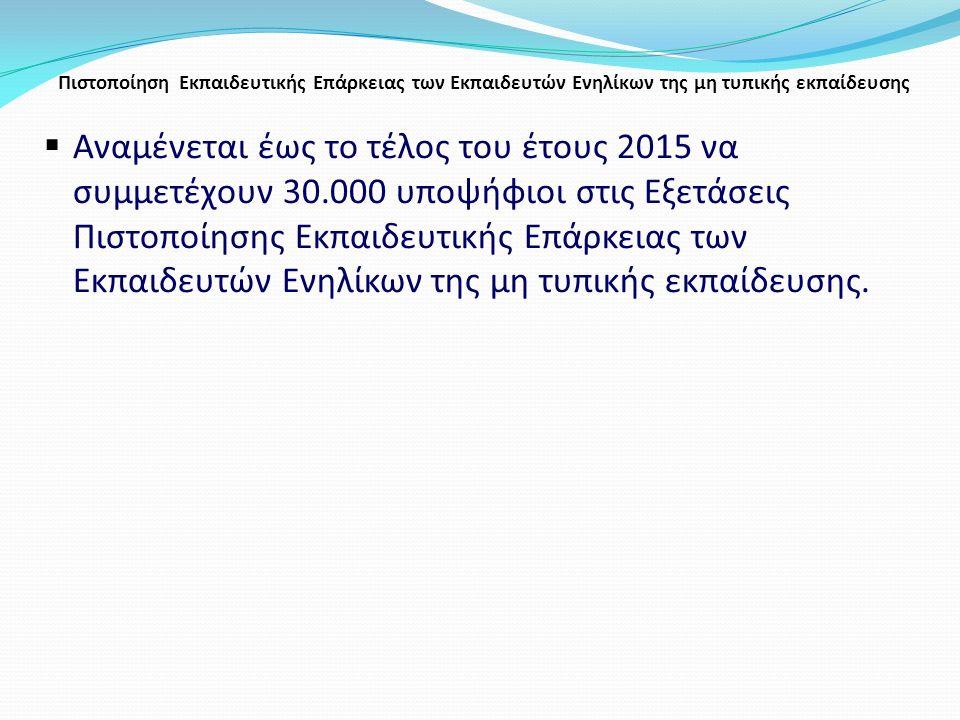 Πιστοποίηση Εκπαιδευτικής Επάρκειας των Εκπαιδευτών Ενηλίκων της μη τυπικής εκπαίδευσης  Αναμένεται έως το τέλος του έτους 2015 να συμμετέχουν 30.000