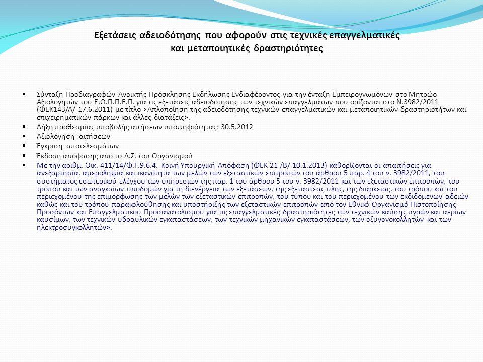 Εξετάσεις αδειοδότησης που αφορούν στις τεχνικές επαγγελματικές και μεταποιητικές δραστηριότητες  Σύνταξη Προδιαγραφών Ανοικτής Πρόσκλησης Εκδήλωσης