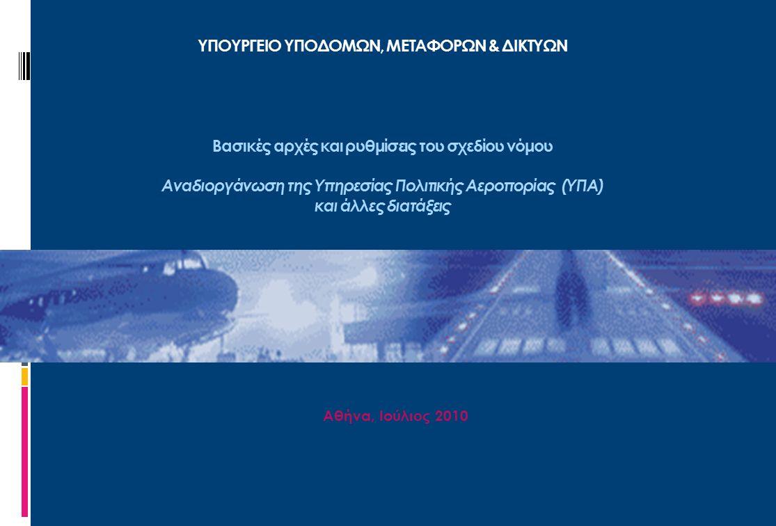 1 Αναβάθμιση και αναδιοργάνωση της Υπηρεσίας Πολιτικής Αεροπορίας (ΥΠΑ)  Η ανάγκη για την αναβάθμιση και την αναδιάρθρωση της ΥΠΑ υπαγορεύεται από τις διεθνείς πρακτικές και τους ευρωπαϊκούς κανονισμούς περί Ενιαίου Ευρωπαϊκού Ουρανού που αποσκοπούν σ τη βελτίωση των επιδόσεων και της βιωσιμότητας του ευρωπαϊκού συστήματος πολιτικής αεροπορίας.