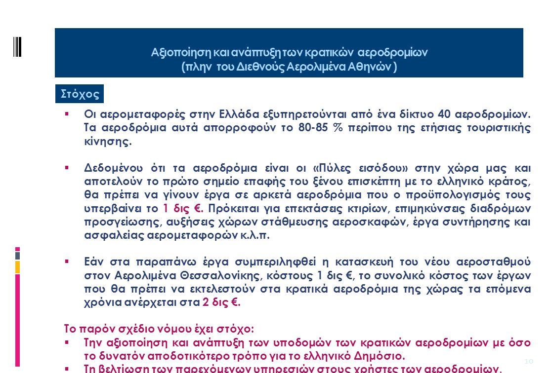 11 Αξιοποίηση και ανάπτυξη των κρατικών αεροδρομίων (πλην του Διεθνούς Αερολιμένα Αθηνών ) Βασικές ρυθμίσεις 1.