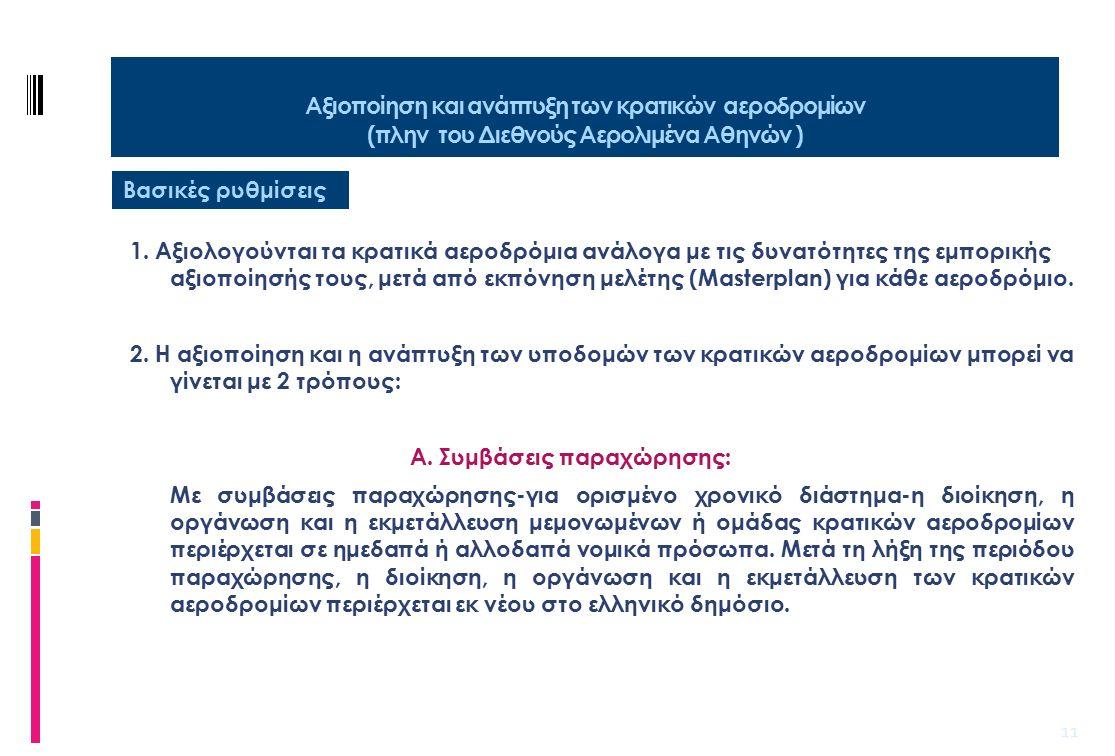 12 Αξιοποίηση και ανάπτυξη των κρατικών αεροδρομίων (πλην του Διεθνούς Αερολιμένα Αθηνών ) Βασικές ρυθμίσεις Β.