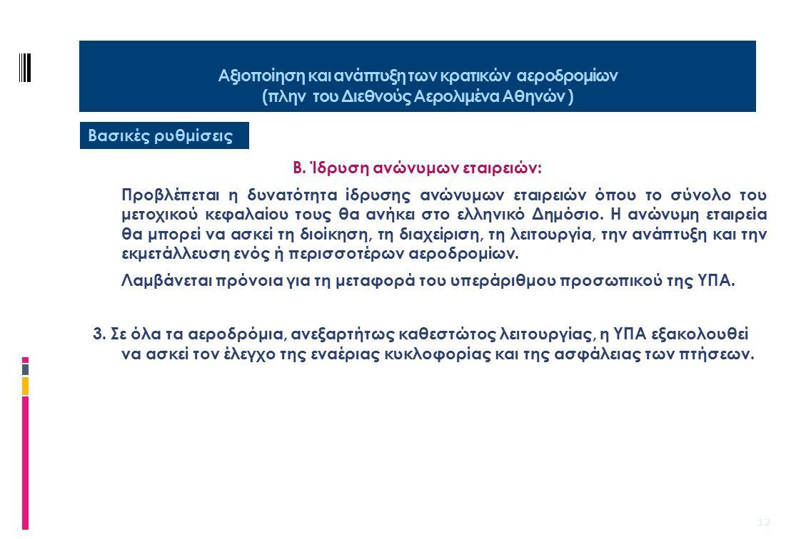 13 Απελευθέρωση παροχής υπηρεσιών επίγειας εξυπηρέτησης σε όλους τους ελληνικούς αερολιμένες Στόχοι  Για πέντε σχεδόν δεκαετίες και μέχρι το 2000, η επίγεια εξυπηρέτηση όλων των αεροδρομίων της χώρας γινόταν αποκλειστικά από την Olympic Handling.