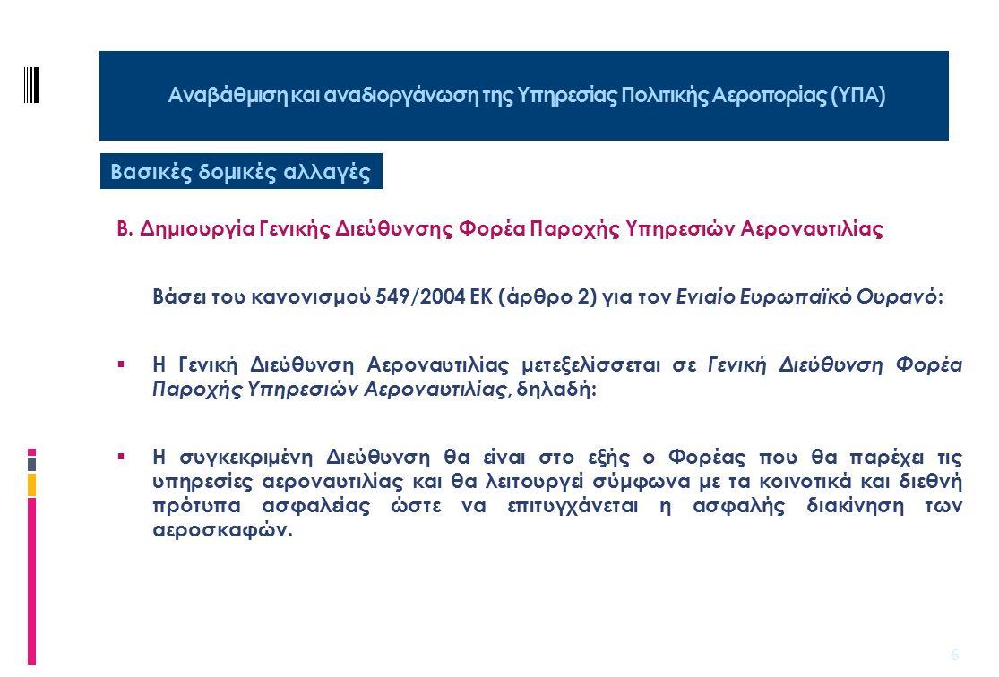 7 Αναβάθμιση και αναδιοργάνωση της Υπηρεσίας Πολιτικής Αεροπορίας (ΥΠΑ) Β.