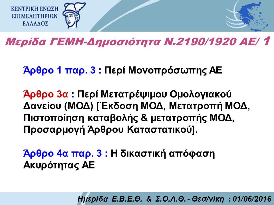Μερίδα ΓΕΜΗ-Δημοσιότητα Ν.2190/1920 ΑΕ/ 1 Ημερίδα Ε.Β.Ε.Θ. & Σ.Ο.Λ.Θ. - Θεσ/νίκη : 01/06/2016 Άρθρο 1 παρ. 3 : Περί Μονοπρόσωπης ΑΕ Άρθρο 3α : Περί Με