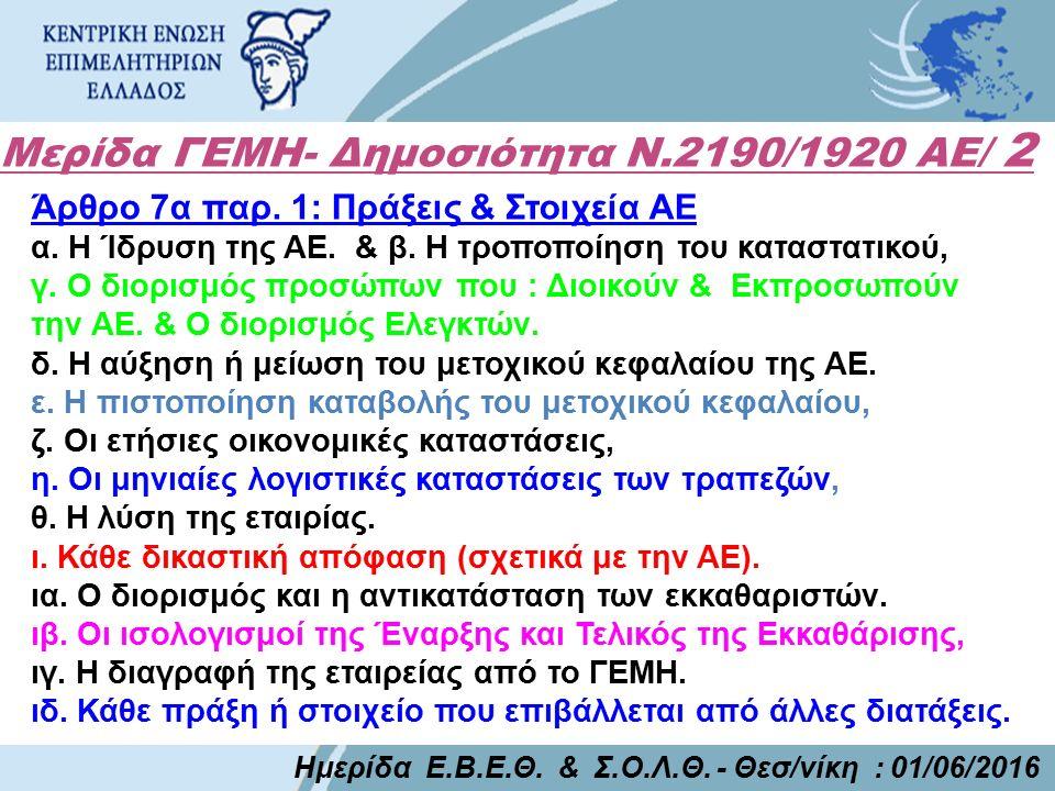 Μερίδα ΓΕΜΗ- Δημοσιότητα Ν.2190/1920 ΑΕ/ 2 Ημερίδα Ε.Β.Ε.Θ. & Σ.Ο.Λ.Θ. - Θεσ/νίκη : 01/06/2016 Άρθρο 7α παρ. 1: Πράξεις & Στοιχεία ΑΕ α. Η Ίδρυση της