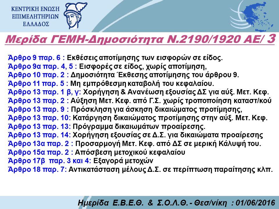 Μερίδα ΓΕΜΗ-Δημοσιότητα Ν.2190/1920 ΑΕ/ 3 Ημερίδα Ε.Β.Ε.Θ.