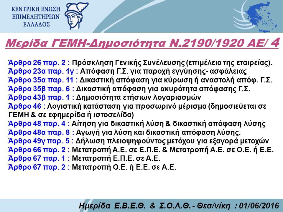 Μερίδα ΓΕΜΗ-Δημοσιότητα Ν.2190/1920 ΑΕ/ 4 Ημερίδα Ε.Β.Ε.Θ. & Σ.Ο.Λ.Θ. - Θεσ/νίκη : 01/06/2016 Άρθρο 26 παρ. 2 : Πρόσκληση Γενικής Συνέλευσης (επιμέλει