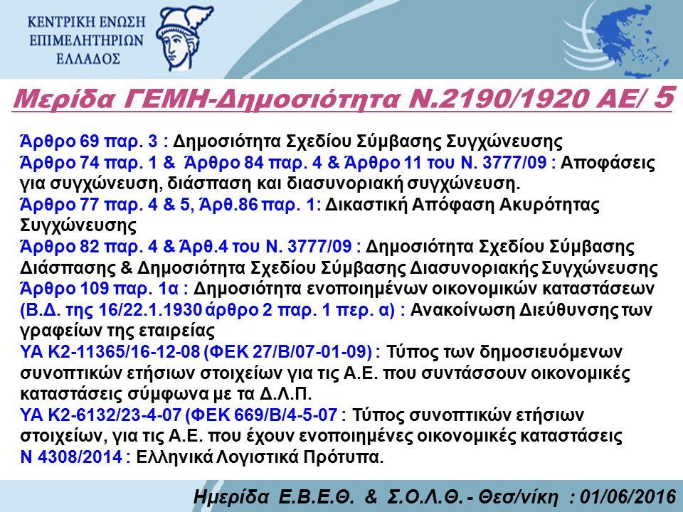 Μερίδα ΓΕΜΗ-Δημοσιότητα Ν.2190/1920 ΑΕ/ 5 Ημερίδα Ε.Β.Ε.Θ. & Σ.Ο.Λ.Θ. - Θεσ/νίκη : 01/06/2016 Άρθρο 69 παρ. 3 : Δημοσιότητα Σχεδίου Σύμβασης Συγχώνευσ