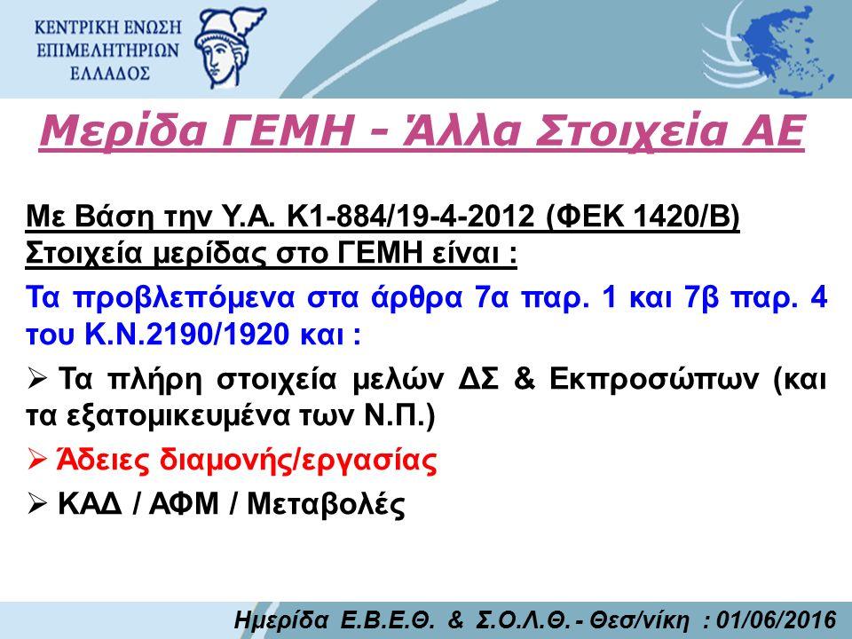Μερίδα ΓΕΜΗ - Άλλα Στοιχεία ΑΕ Με Βάση την Υ.Α. Κ1-884/19-4-2012 (ΦΕΚ 1420/Β) Στοιχεία μερίδας στο ΓΕΜΗ είναι : Τα προβλεπόμενα στα άρθρα 7α παρ. 1 κα