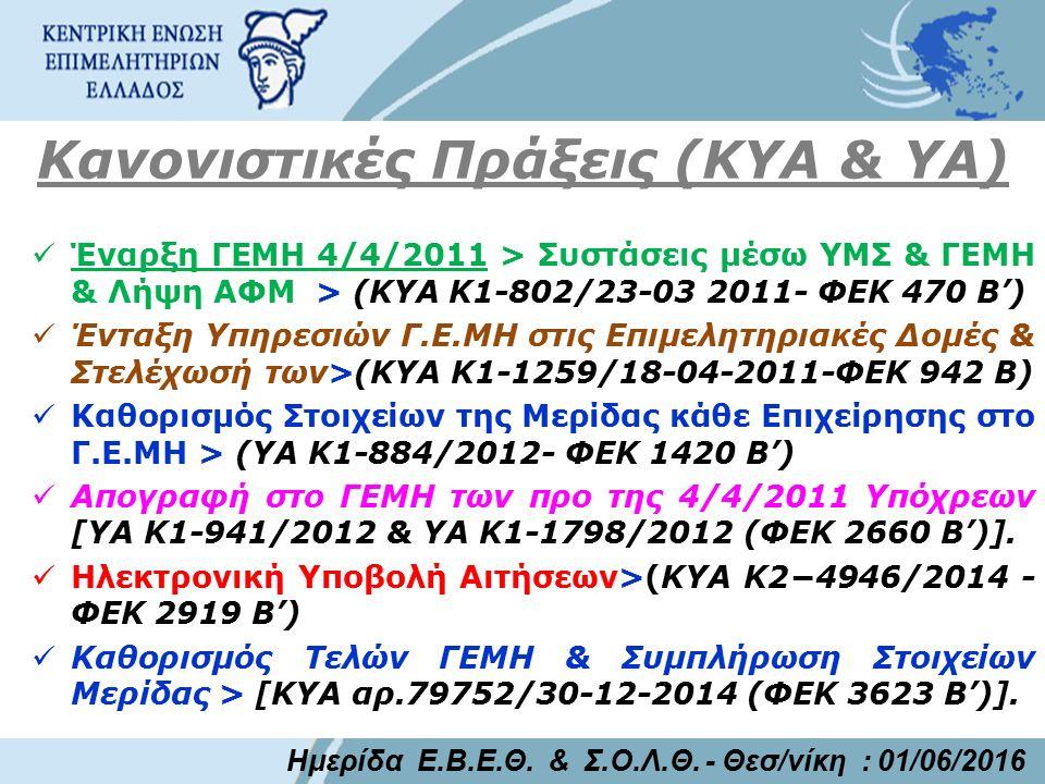 Κανονιστικές Πράξεις (ΚΥΑ & ΥΑ) Έναρξη ΓΕΜΗ 4/4/2011 > Συστάσεις μέσω ΥΜΣ & ΓΕΜΗ & Λήψη ΑΦΜ > (ΚΥΑ Κ1-802/23-03 2011- ΦΕΚ 470 Β') Ένταξη Υπηρεσιών Γ.Ε.ΜΗ στις Επιμελητηριακές Δομές & Στελέχωσή των>(ΚΥΑ Κ1-1259/18-04-2011-ΦΕΚ 942 Β) Καθορισμός Στοιχείων της Μερίδας κάθε Επιχείρησης στο Γ.Ε.ΜΗ > (ΥΑ Κ1-884/2012- ΦΕΚ 1420 Β') Απογραφή στο ΓΕΜΗ των προ της 4/4/2011 Υπόχρεων [YA Κ1-941/2012 & YA Κ1-1798/2012 (ΦΕΚ 2660 Β')].
