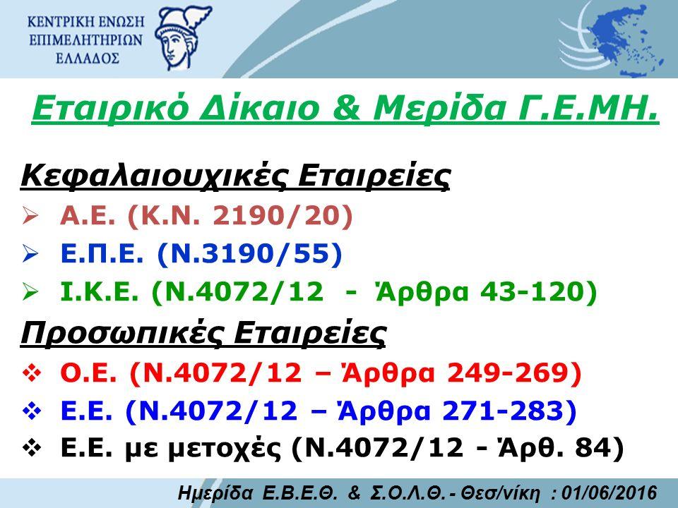 Εταιρικό Δίκαιο & Μερίδα Γ.Ε.ΜΗ. Κεφαλαιουχικές Εταιρείες  Α.Ε. (Κ.Ν. 2190/20)  Ε.Π.Ε. (Ν.3190/55)  Ι.Κ.Ε. (Ν.4072/12 - Άρθρα 43-120) Προσωπικές Ετ