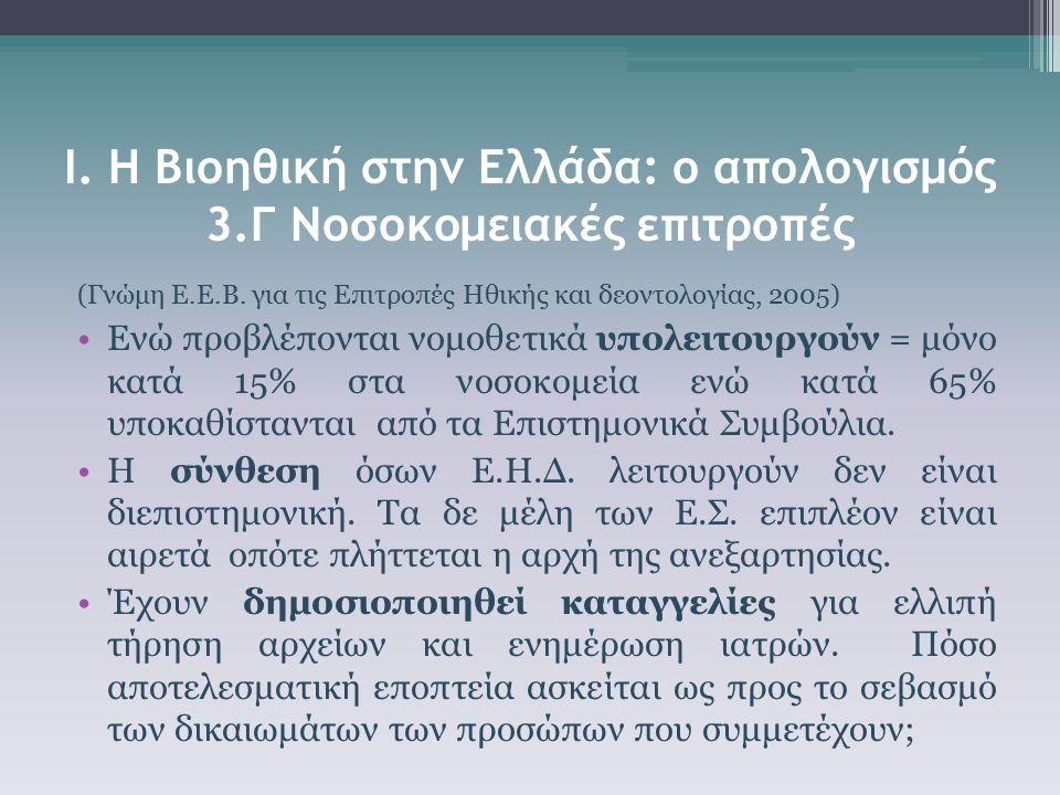 Ι. Η Βιοηθική στην Ελλάδα: ο απολογισμός 3.Γ Νοσοκομειακές επιτροπές (Γνώμη Ε.Ε.Β. για τις Επιτροπές Ηθικής και δεοντολογίας, 2005) Ενώ προβλέπονται ν