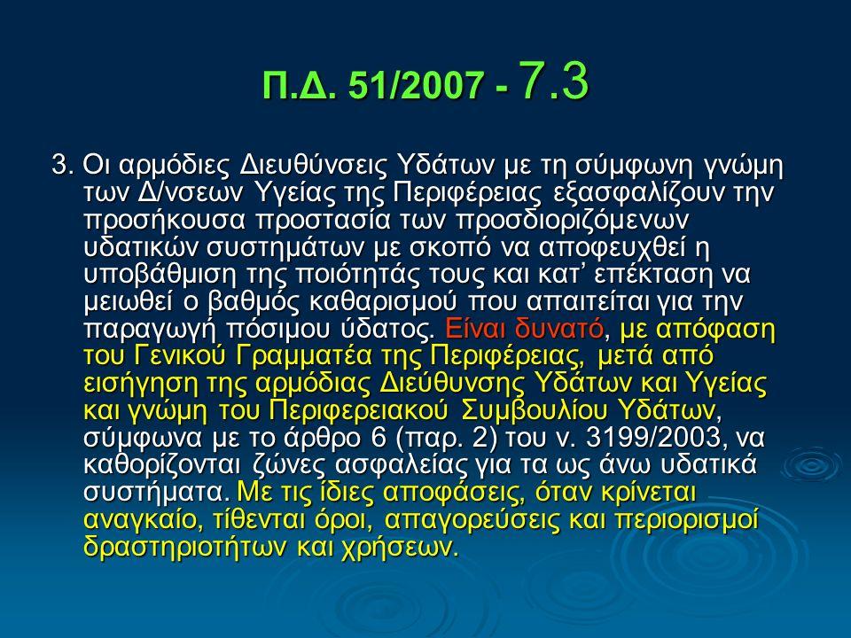 Οδηγία 2000/60/ΕΚ - Π.Δ.51 / 8.3.2007 ΠΑΡΑΡΤΗΜΑ IV ΠΡΟΣΤΑΤΕΥΟΜΕΝΕΣ ΠΕΡΙΟΧΕΣ 1.