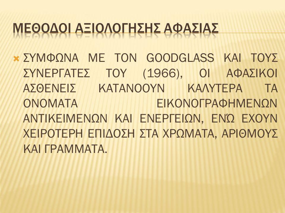  ΣΥΜΦΩΝΑ ΜΕ ΤΟΝ GOODGLASS ΚΑΙ ΤΟΥΣ ΣΥΝΕΡΓΑΤΕΣ ΤΟΥ (1966), ΟΙ ΑΦΑΣΙΚΟΙ ΑΣΘΕΝΕΙΣ ΚΑΤΑΝΟΟΥΝ ΚΑΛΥΤΕΡΑ ΤΑ ΟΝΟΜΑΤΑ ΕΙΚΟΝΟΓΡΑΦΗΜΕΝΩΝ ΑΝΤΙΚΕΙΜΕΝΩΝ ΚΑΙ ΕΝΕΡΓΕΙΩΝ, ΕΝΏ ΕΧΟΥΝ ΧΕΙΡΟΤΕΡΗ ΕΠΙΔΟΣΗ ΣΤΑ ΧΡΩΜΑΤΑ, ΑΡΙΘΜΟΥΣ ΚΑΙ ΓΡΑΜΜΑΤΑ.