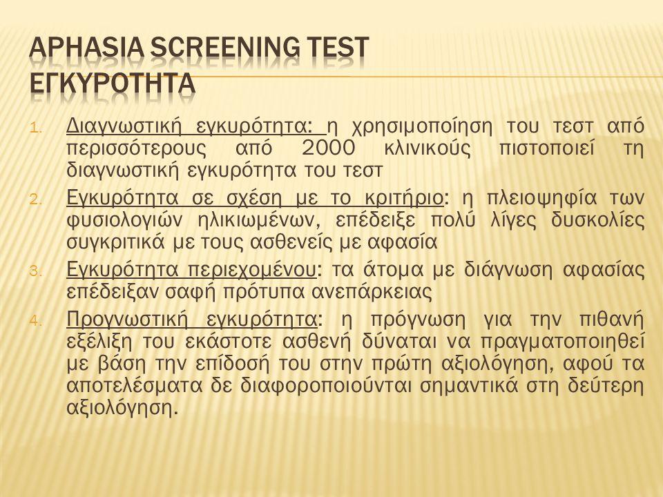 1. Διαγνωστική εγκυρότητα: η χρησιμοποίηση του τεστ από περισσότερους από 2000 κλινικούς πιστοποιεί τη διαγνωστική εγκυρότητα του τεστ 2. Εγκυρότητα σ
