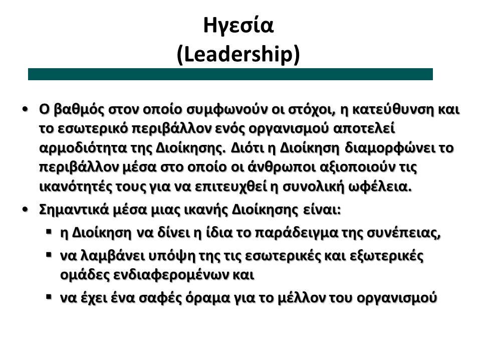 Ηγεσία (Leadership) Ο βαθμός στον οποίο συμφωνούν οι στόχοι, η κατεύθυνση και το εσωτερικό περιβάλλον ενός οργανισμού αποτελεί αρμοδιότητα της Διοίκησ