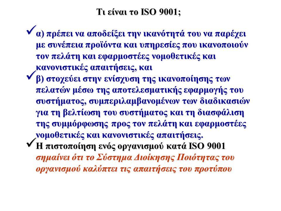 Τι είναι το ISO 9001; α) πρέπει να αποδείξει την ικανότητά του να παρέχει με συνέπεια προϊόντα και υπηρεσίες που ικανοποιούν τον πελάτη και εφαρμοστέε