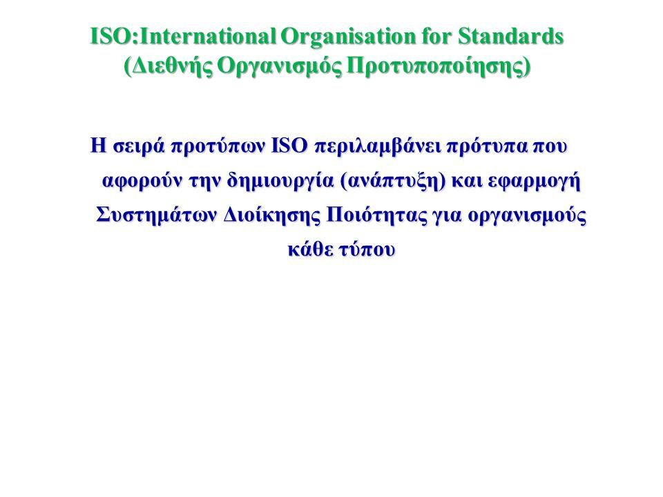 ISO:International Organisation for Standards (Διεθνής Οργανισμός Προτυποποίησης) Η σειρά προτύπων ISO περιλαμβάνει πρότυπα που αφορούν την δημιουργία
