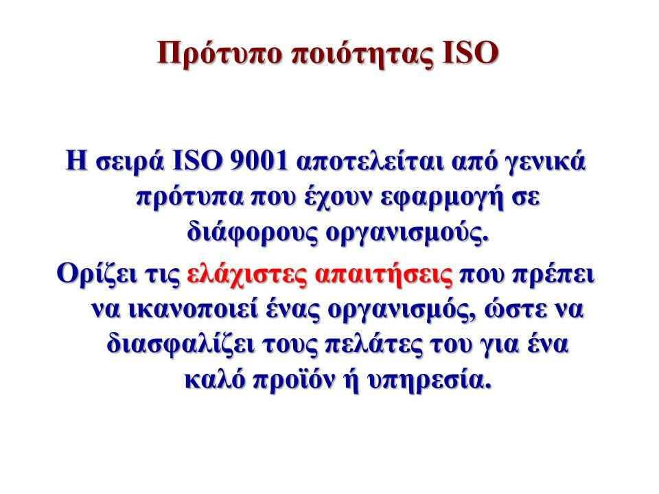 Πρότυπο ποιότητας ISO Η σειρά ISO 9001 αποτελείται από γενικά πρότυπα που έχουν εφαρμογή σε διάφορους οργανισμούς. Ορίζει τις ελάχιστες απαιτήσεις που