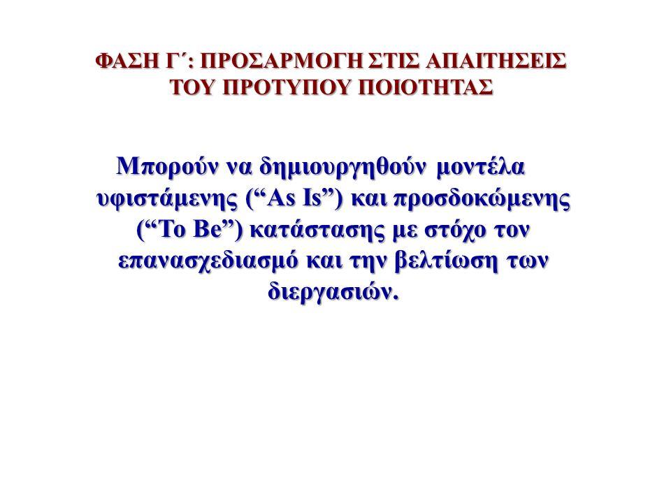 """ΦΑΣΗ Γ΄: ΠΡΟΣΑΡΜΟΓΗ ΣΤΙΣ ΑΠΑΙΤΗΣΕΙΣ ΤΟΥ ΠΡΟΤΥΠΟΥ ΠΟΙΟΤΗΤΑΣ Μπορούν να δημιουργηθούν μοντέλα υφιστάμενης (""""As Is"""") και προσδοκώμενης (""""To Be"""") κατάστασ"""