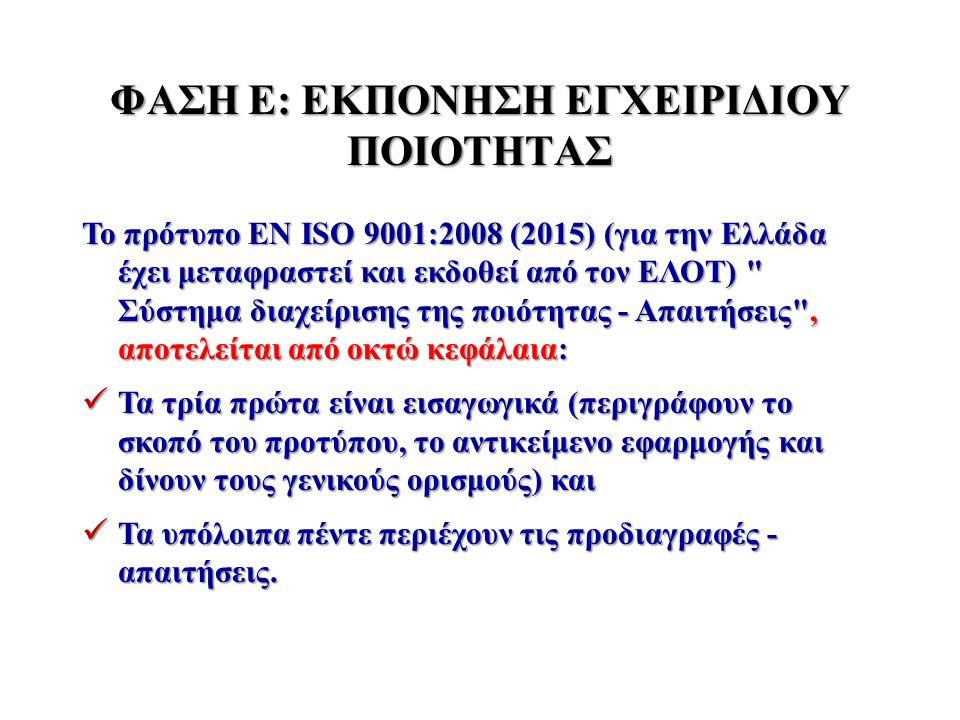 ΦΑΣΗ Ε: ΕΚΠΟΝΗΣΗ ΕΓΧΕΙΡΙΔΙΟΥ ΠΟΙΟΤΗΤΑΣ Το πρότυπο EN ISO 9001:2008 (2015) (για την Ελλάδα έχει μεταφραστεί και εκδοθεί από τον ΕΛΟΤ)