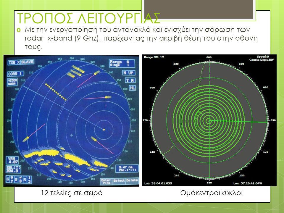 ΤΡΟΠΟΣ ΛΕΙΤΟΥΡΓΙΑΣ  Με την ενεργοποίηση του αντανακλά και ενισχύει την σάρωση των radar x-band (9 Ghz), παρέχοντας την ακριβή θέση του στην οθόνη τους.