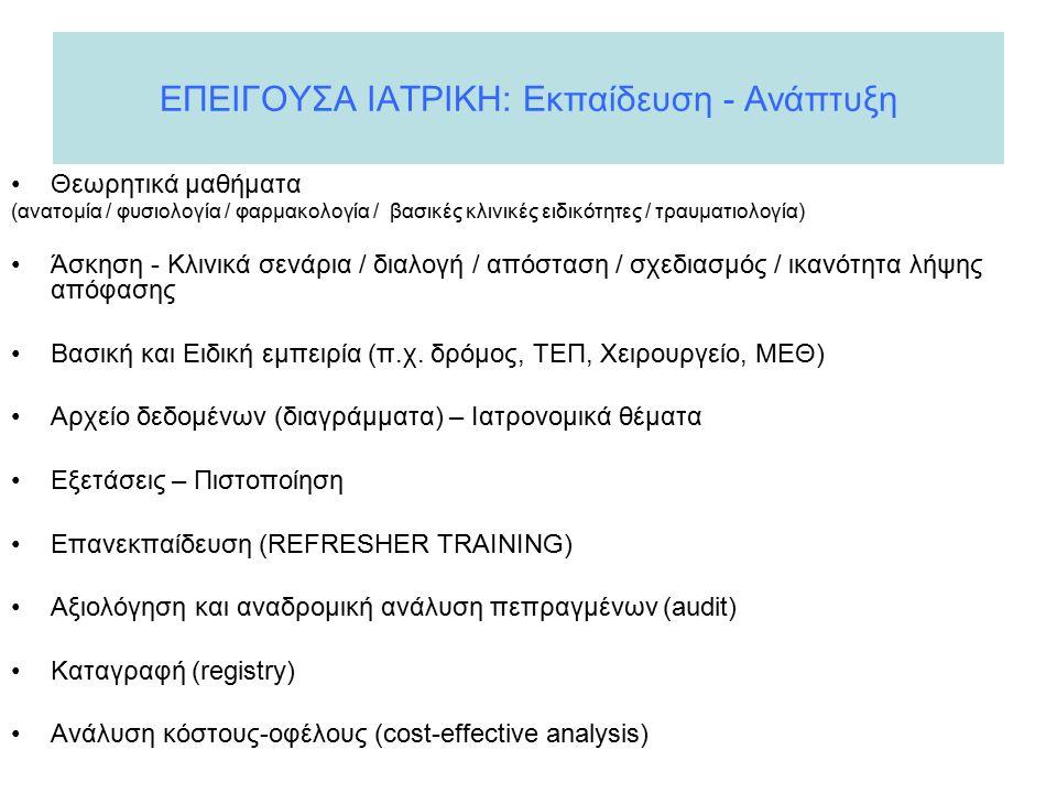 ΕΠΕΙΓΟΥΣΑ ΙΑΤΡΙΚΗ: Εκπαίδευση - Ανάπτυξη Θεωρητικά μαθήματα (ανατομία / φυσιολογία / φαρμακολογία / βασικές κλινικές ειδικότητες / τραυματιολογία) Άσκηση - Κλινικά σενάρια / διαλογή / απόσταση / σχεδιασμός / ικανότητα λήψης απόφασης Βασική και Ειδική εμπειρία (π.χ.