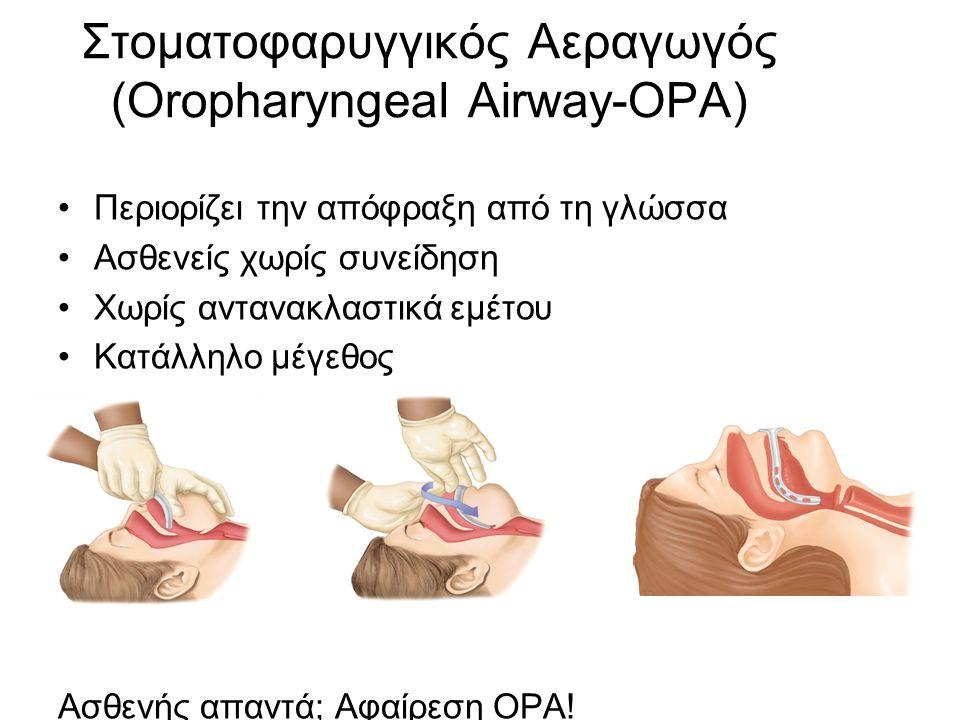 Στοματοφαρυγγικός Αεραγωγός (Οropharyngeal Airway-OPA) Περιορίζει την απόφραξη από τη γλώσσα Ασθενείς χωρίς συνείδηση Χωρίς αντανακλαστικά εμέτου Κατάλληλο μέγεθος Ασθενής απαντά; Αφαίρεση ΟΡΑ!