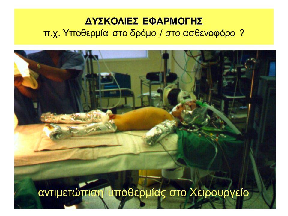 ΔΥΣΚΟΛΙΕΣ ΕΦΑΡΜΟΓΗΣ ΔΥΣΚΟΛΙΕΣ ΕΦΑΡΜΟΓΗΣ π.χ. Υποθερμία στο δρόμο / στο ασθενοφόρο ? αντιμετώπιση υποθερμίας στο Χειρουργείο