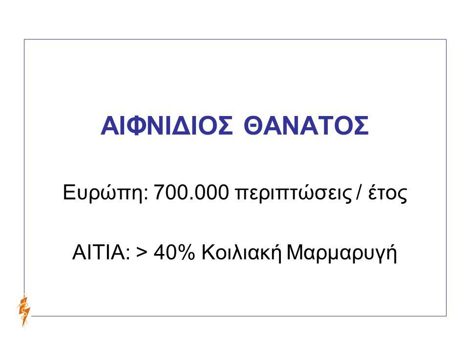 ΑΙΦΝΙΔΙΟΣ ΘΑΝΑΤΟΣ Ευρώπη: 700.000 περιπτώσεις / έτος ΑΙΤΙΑ: > 40% Κοιλιακή Μαρμαρυγή