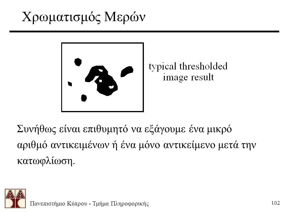 Πανεπιστήμιο Κύπρου - Τμήμα Πληροφορικής 102 Χρωματισμός Μερών Συνήθως είναι επιθυμητό να εξάγουμε ένα μικρό αριθμό αντικειμένων ή ένα μόνο αντικείμενο μετά την κατωφλίωση.