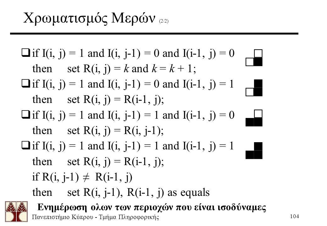 Πανεπιστήμιο Κύπρου - Τμήμα Πληροφορικής 104 Χρωματισμός Μερών (2/2)  if I(i, j) = 1 and I(i, j-1) = 0 and I(i-1, j) = 0 then set R(i, j) = k and k = k + 1;  if I(i, j) = 1 and I(i, j-1) = 0 and I(i-1, j) = 1 then set R(i, j) = R(i-1, j);  if I(i, j) = 1 and I(i, j-1) = 1 and I(i-1, j) = 0 then set R(i, j) = R(i, j-1);  if I(i, j) = 1 and I(i, j-1) = 1 and I(i-1, j) = 1 then set R(i, j) = R(i-1, j); if R(i, j-1) ≠ R(i-1, j) then set R(i, j-1), R(i-1, j) as equals Ενημέρωση ολων των περιοχών που είναι ισοδύναμες