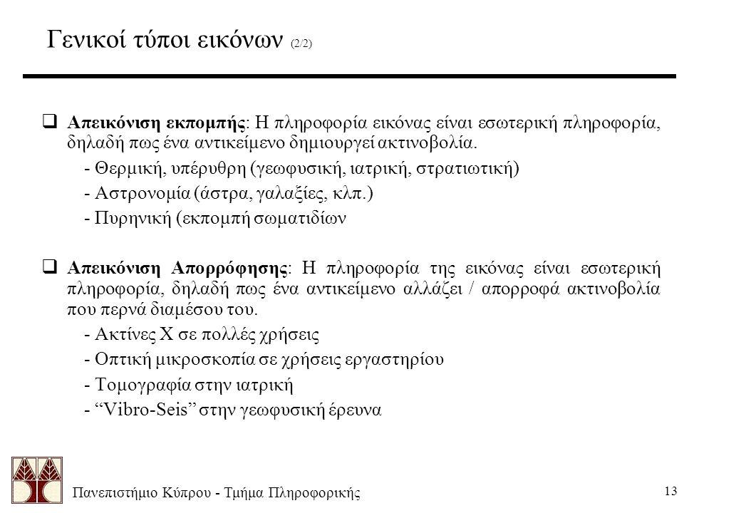 Πανεπιστήμιο Κύπρου - Τμήμα Πληροφορικής 13 Γενικοί τύποι εικόνων (2/2)  Απεικόνιση εκπομπής: Η πληροφορία εικόνας είναι εσωτερική πληροφορία, δηλαδή πως ένα αντικείμενο δημιουργεί ακτινοβολία.