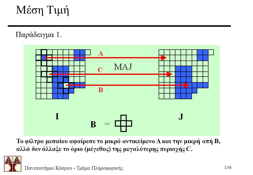 Πανεπιστήμιο Κύπρου - Τμήμα Πληροφορικής 136 Μέση Τιμή Παράδειγμα 1. Το φίλτρο μεσαίου αφαίρεσε το μικρό αντικείμενο Α και την μικρή οπή Β, αλλά δεν ά