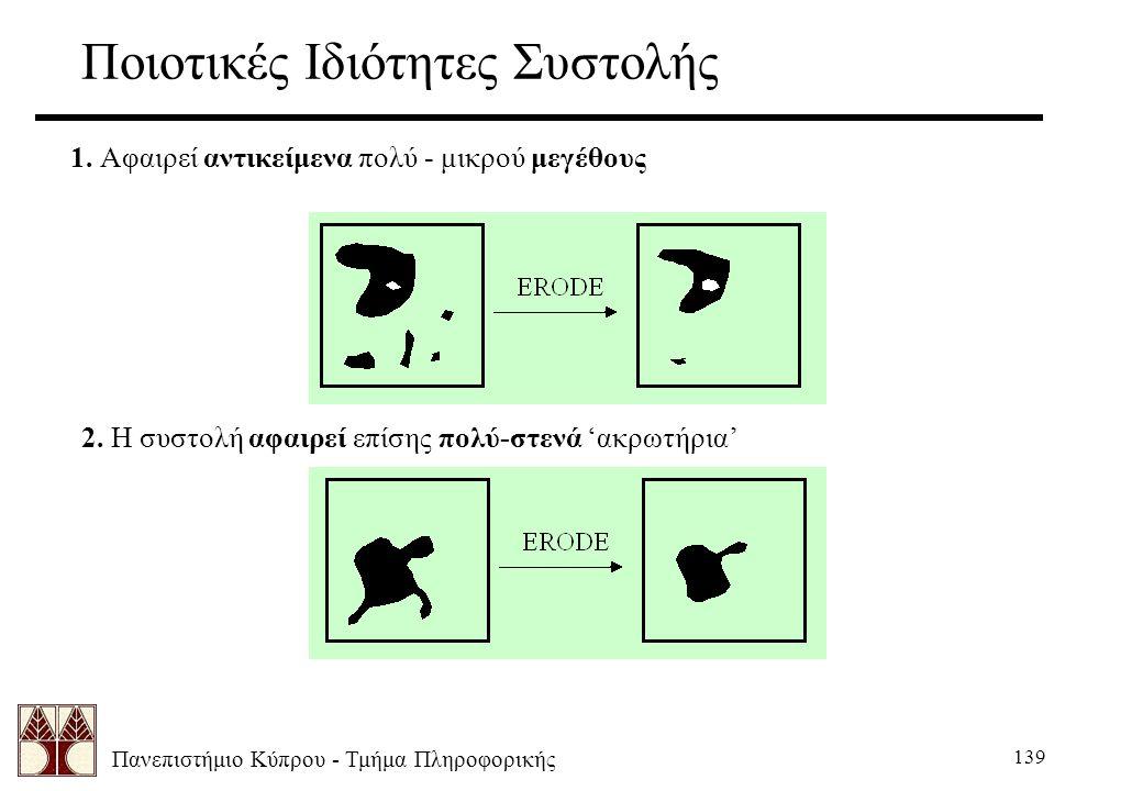 Πανεπιστήμιο Κύπρου - Τμήμα Πληροφορικής 139 Ποιοτικές Ιδιότητες Συστολής 1. Αφαιρεί αντικείμενα πολύ - μικρού μεγέθους 2. Η συστολή αφαιρεί επίσης πο