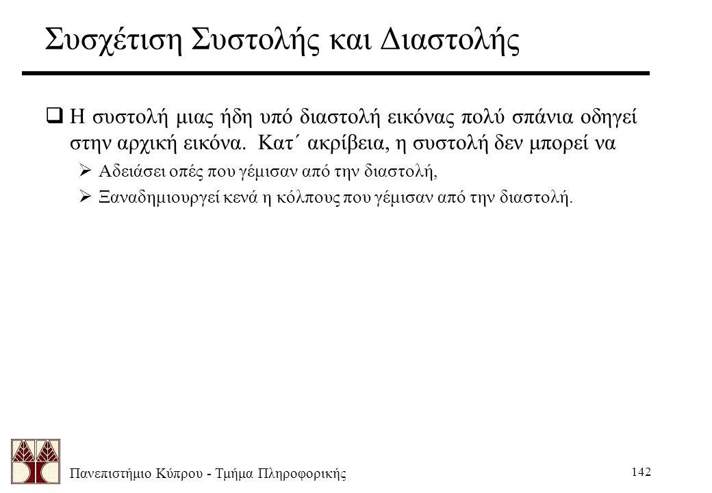 Πανεπιστήμιο Κύπρου - Τμήμα Πληροφορικής 142 Συσχέτιση Συστολής και Διαστολής  Η συστολή μιας ήδη υπό διαστολή εικόνας πολύ σπάνια οδηγεί στην αρχική εικόνα.