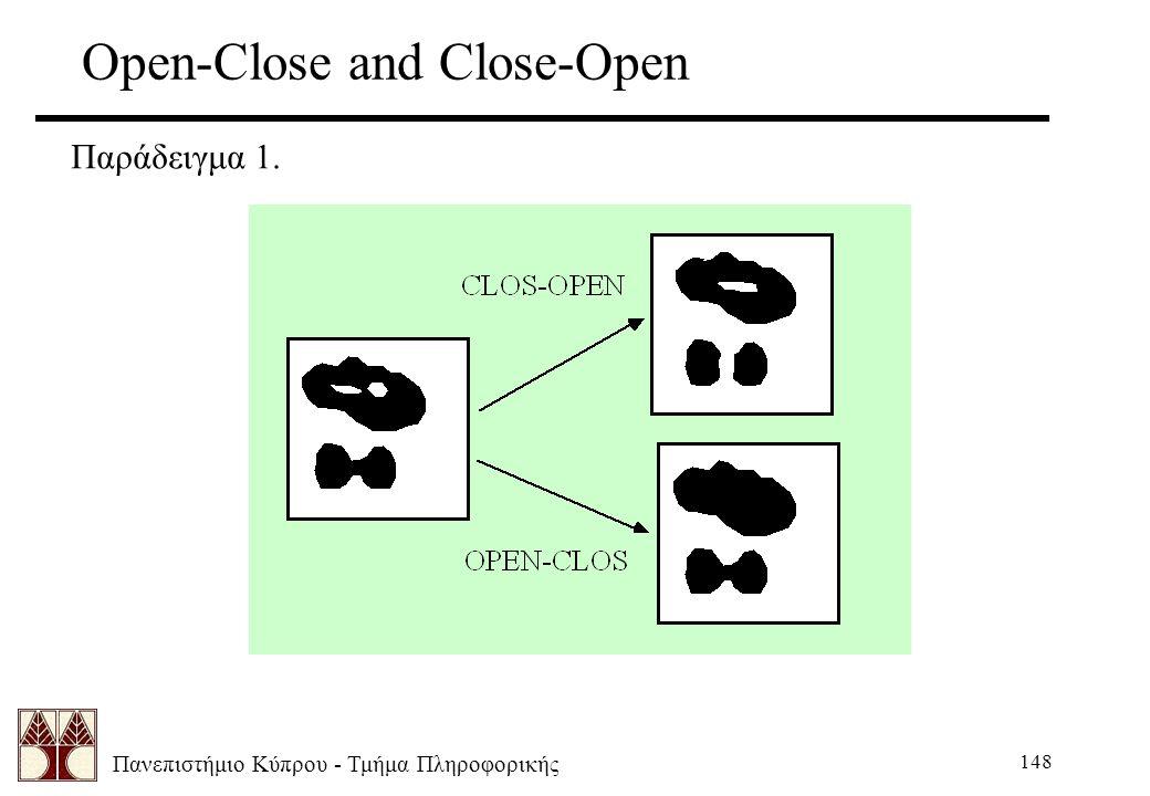 Πανεπιστήμιο Κύπρου - Τμήμα Πληροφορικής 148 Open-Close and Close-Open Παράδειγμα 1.