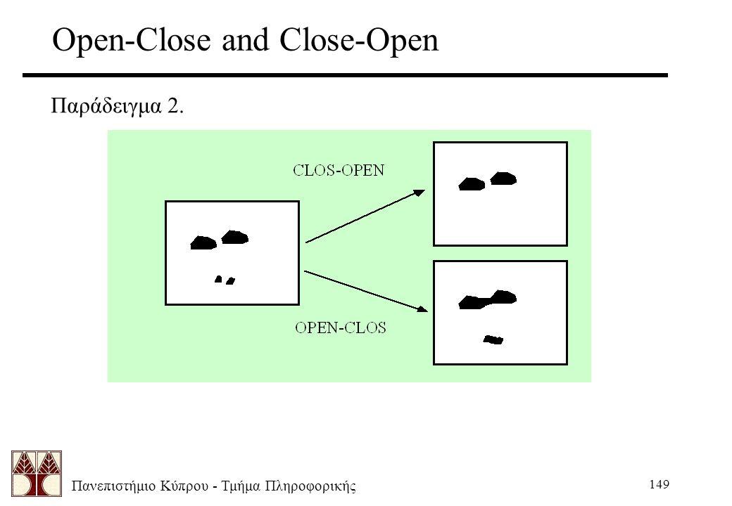 Πανεπιστήμιο Κύπρου - Τμήμα Πληροφορικής 149 Open-Close and Close-Open Παράδειγμα 2.