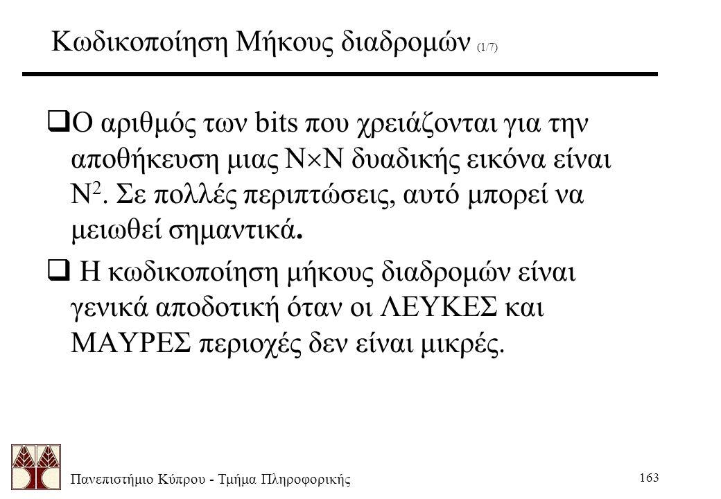 Πανεπιστήμιο Κύπρου - Τμήμα Πληροφορικής 163 Κωδικοποίηση Μήκους διαδρομών (1/7)  Ο αριθμός των bits που χρειάζονται για την αποθήκευση μιας N  N δυαδικής εικόνα είναι N 2.