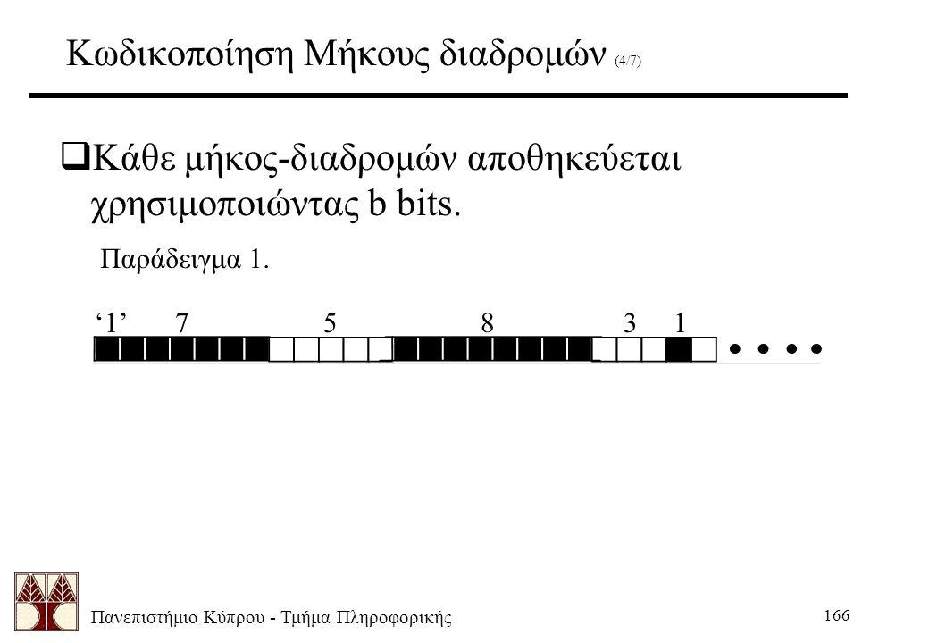 Πανεπιστήμιο Κύπρου - Τμήμα Πληροφορικής 166 Κωδικοποίηση Μήκους διαδρομών (4/7)  Κάθε μήκος-διαδρομών αποθηκεύεται χρησιμοποιώντας b bits.